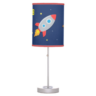 Colourful Rocket Ship, Outer Space, For Kids Room Table Lamp