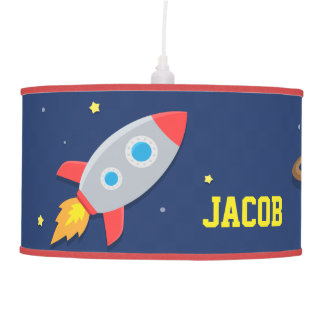 Colourful Rocket Ship Outer Space Kids Room Lamp