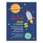 Colourful, Rocket Ship, Space Party, Kids Birthday 4.25x5.5 Paper Invitation Card