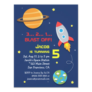 Colourful, Rocket Ship, Space Party, Kids Birthday Card