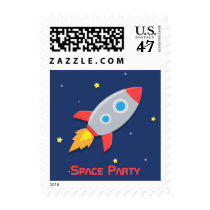 Colourful, Rocket Ship, Space Party, Kids Birthday Postage