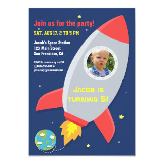 Colourful Rocket Space Party Kids Birthday Photo 4.5x6.25 Paper Invitation Card
