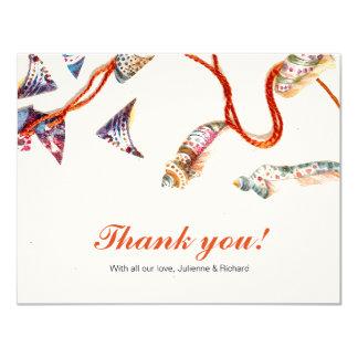Colourful Seashells   Beach Wedding Thank You Card