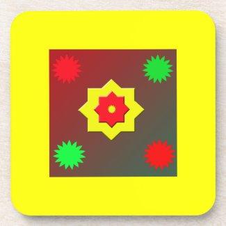 Colourful Shapes Cork Coaster