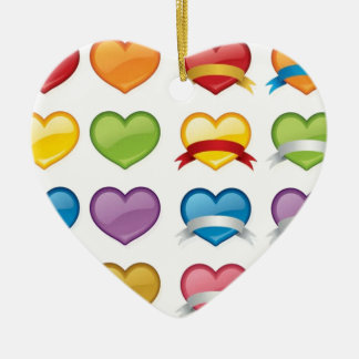 COLOURFUL SHINY HEART COLLECTION ASSORTMENT BANNER CHRISTMAS ORNAMENT