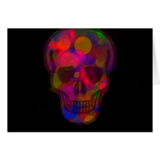 Colourful skull on a dark background greeting card
