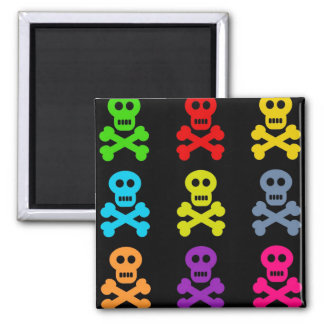Colourful Skulls 2 Inch Square Magnet