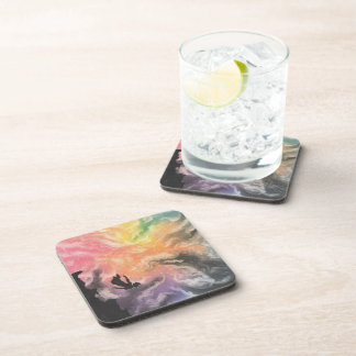 colourful sky dive beverage coaster