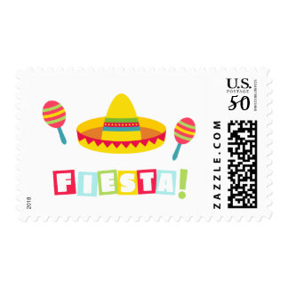 Colourful Sombrero Maracas Mexican Fiesta Party Postage