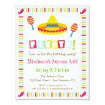 Colourful Sombrero Mexican Fiesta Kids Party 4.25x5.5 Paper Invitation Card