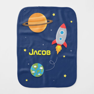 Colourful, Space Rocket Ship, For Baby Boys Burp Cloth