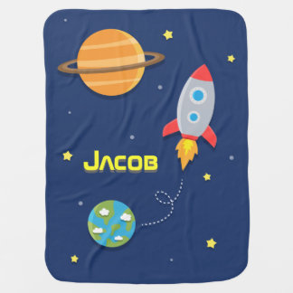Colourful, Space Rocket Ship, For Baby Boys Stroller Blanket