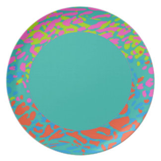 Colourful splash sea green pattern party cute dinner plates