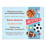 Colourful Sports Themed Baby Shower Invitations