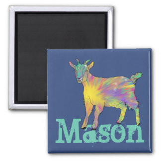 Colourful Starburst Art Goat Design with Your Name Magnet
