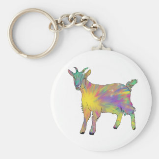 Colourful Starburst Art Goat Funny Animal design Keychain