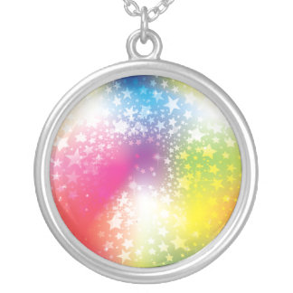 Colourful Stars Silver Plated Necklace