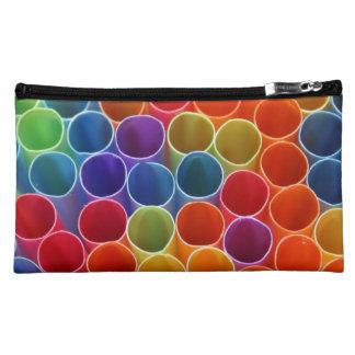 Colourful Straws Sueded Medium Cosmetic Bag