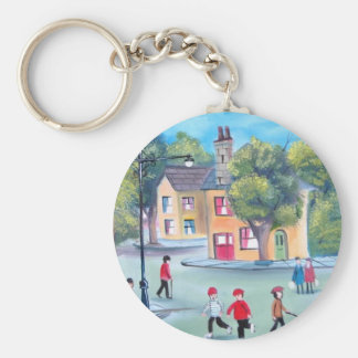 Colourful street scene painting by Gordon Bruce Keychain