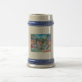 Colourful street scene painting by Gordon Bruce 18 Oz Beer Stein