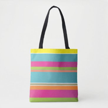 Beach Themed Colourful Striped Tote Bag
