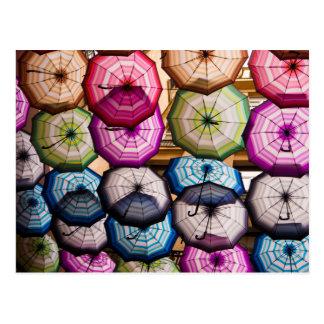Colourful, Striped Umbrellas Postcard