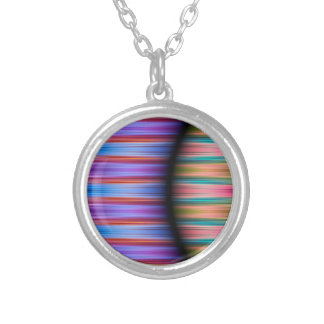 Colourful stripes pattern silver plated necklace
