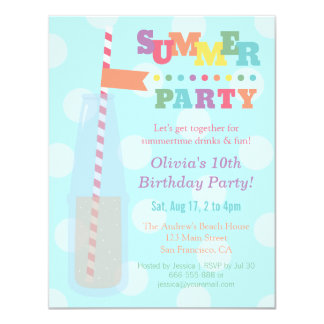 Colourful Summer Birthday Party Invitations