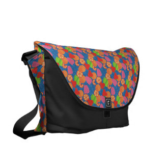 Colourful Summer Fruits Pattern on Deep Blue Courier Bag