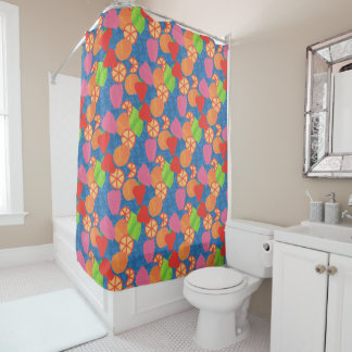 Colourful Summer Fruits Pattern on Deep Blue Shower Curtain