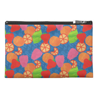 Colourful Summer Fruits Pattern on Deep Blue Travel Accessory Bag