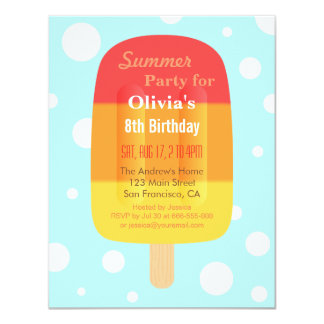 Colourful Summer Lolly Popsicle Ice Cream Party Card