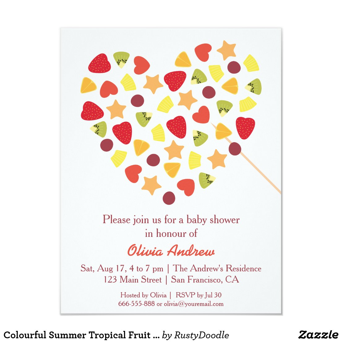 Colourful Summer Tropical Fruit Baby Shower Card