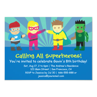Colourful Superhero Birthday Party For Kids 4.5x6.25 Paper Invitation Card