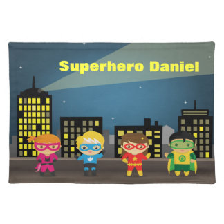 Colourful Superhero City Skyline For Kids Cloth Placemat