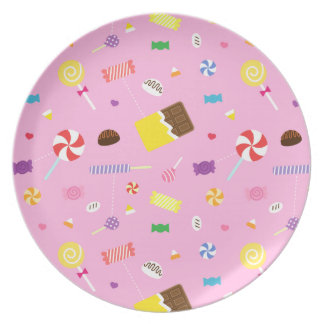 Colourful Sweet Candy Pattern For Girls Plate