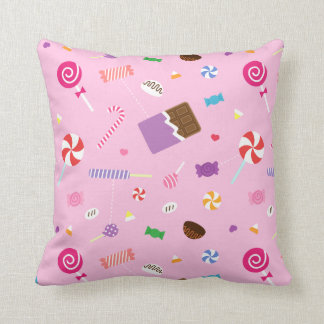 Colourful Sweet Candy Pink Pattern For Girls Room Throw Pillow