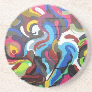 Colourful Swirls Graffiti Design in San Francisco Drink Coaster