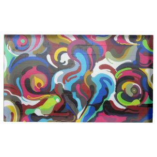 Colourful Swirls Graffiti Design in San Francisco Table Card Holder