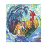 Colourful textured design of Ken the Rooster Note Pad