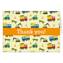 Colourful Thank You, Construction Vehicles Pattern