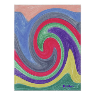 Colourful Tidal Wave Poster
