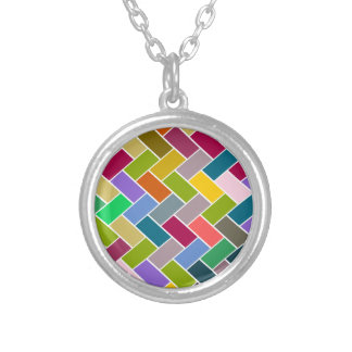 Colourful Tiled Mosaic Pattern Silver Plated Necklace