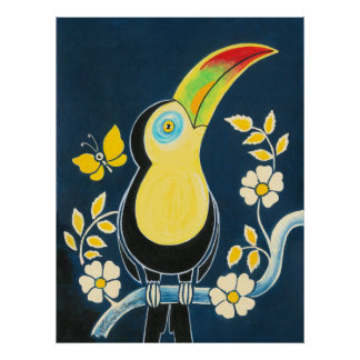 Colourful Toucan On Navy Blue Sky & White Flowers Posters