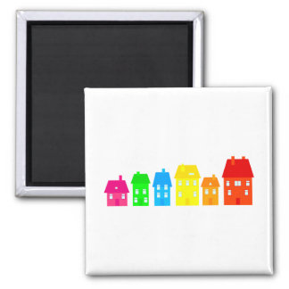 Colourful Town 2 Inch Square Magnet