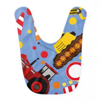 Colourful tractor and bulldozer polka dot baby boy baby bib