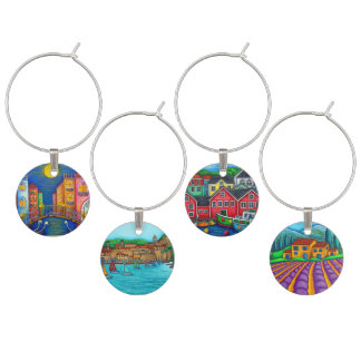 Colourful Travels Wine Charms by Lisa Lorenz