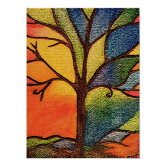 Colourful Tree Stained Glass Effect Poster