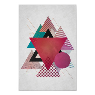 Colourful triangles geometry poster