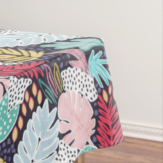 Colourful Tropial Collage Navy Tablecloth